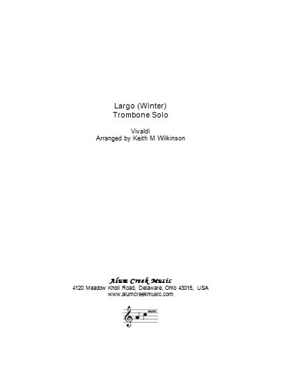 Sheet Music - Largo from Vivaldi's Winter arranged Wilkinson