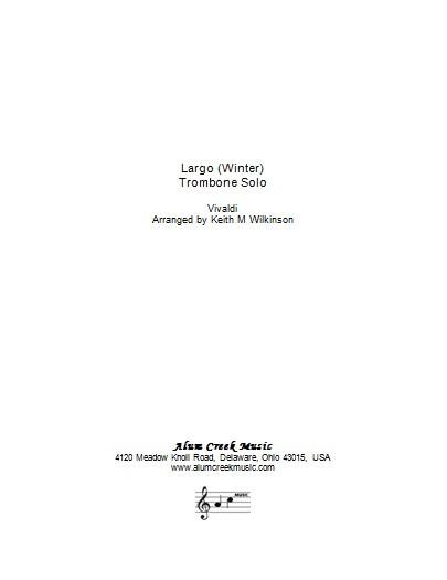 Sheet Music - Largo from Vivaldi's Winter arranged Wilkinson