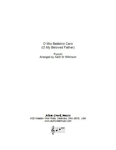 Sheet Music  - O Mio Babbino Caro by Puccini arranged Wilkinson